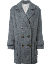See By Chloé - Gray Matted Double Breasted Coat - Lyst