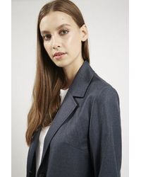TOPSHOP - Blue Tailored Duster Coat By Boutique - Lyst
