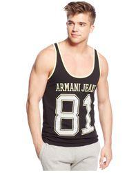 Armani Jeans | Black Logo Tank for Men | Lyst
