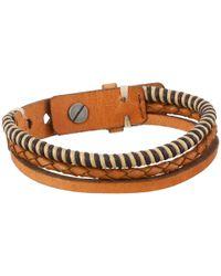 Fossil - Brown Leather Multi-strand Vintage Bracelet - Lyst