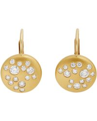 Linda Lee Johnson - Metallic Diamond & Gold moon Phase Drop Earrings - Lyst