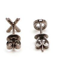 Rosa De La Cruz | Black 18k Oxidised Gold And Diamond Xo Earrings | Lyst