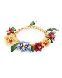 Dolce & Gabbana - Metallic Glitz Floral Link Bracelet/goldtone - Lyst