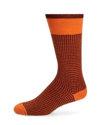 Saks Fifth Avenue | Orange Merino Wool-blend Houndstooth Socks for Men | Lyst