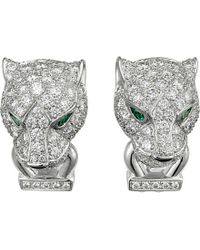 Cartier | Metallic Panthère De 18ct White-gold, Diamond, Onyx And Emerald Earrings | Lyst