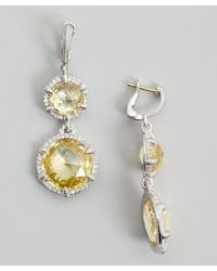 Judith Ripka | Metallic Canary Crystal 'eclipse' Round Drop Earrings | Lyst