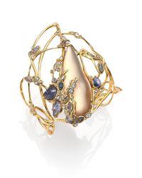 Alexis Bittar | Metallic Imperial Semi-Precious Multi-Stone, Lucite & Crystal Lace Cuff Bracelet | Lyst