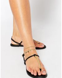 ASOS - Metallic Pack Of 3 Fine Chain Anklet - Lyst