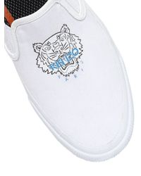 KENZO | White Tiger Cotton Canvas Slip-on Sneakers | Lyst