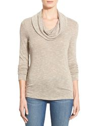 Caslon | Natural Cowl-Neck Stretch-Jersey Top | Lyst