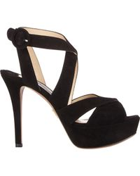 Prada | Black Crisscross-strap Platform Sandals | Lyst