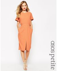 ASOS | Brown Petite Wiggle Dress In Crepe With Open Wrap Back And D-ring | Lyst