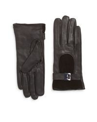 Calvin Klein | Black Leather & Suede Turnlock Gloves | Lyst