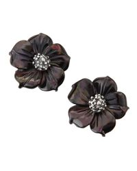 Stephen Dweck | Black Mother-of-pearl Floral Stud Earrings | Lyst