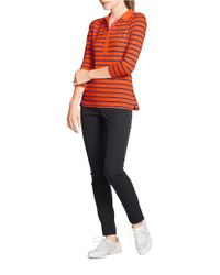 Lauren by Ralph Lauren | Orange Striped Stretch Polo Shirt | Lyst