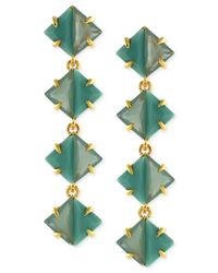 Vince Camuto | Green Gold-Plated Linear Drop Earrings | Lyst