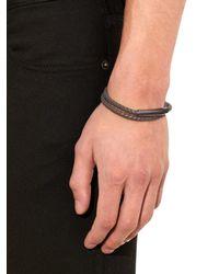 Bottega Veneta - Gray Intrecciato Leather Bracelet for Men - Lyst