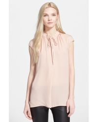 Vince | Natural Cap Sleeve Blouse | Lyst