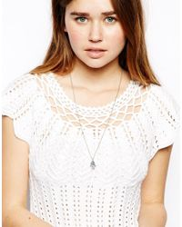 ASOS - Blue Hamsa Hand Charm Long Necklace - Lyst