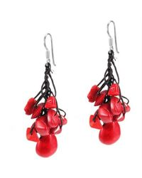 Aeravida | Dangle Teardrop Red Coral .925 Silver Earrings | Lyst