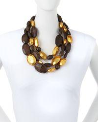 Viktoria Hayman | Metallic Triple-strand Wood And Gold Necklace | Lyst