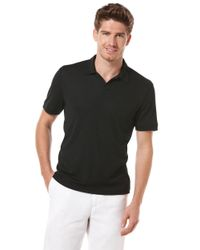 Perry Ellis | Black Open Collar Knit Polo Shirt for Men | Lyst