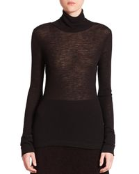 T By Alexander Wang | Black Ribbed Wool Turtleneck Sweater | Lyst