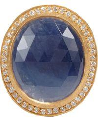 Malcolm Betts - Blue Diamondframed Sapphire Gold Ring - Lyst