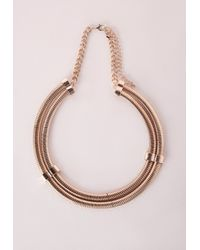 Missguided | Metallic Double Layer Rope Choker Necklace Gold | Lyst