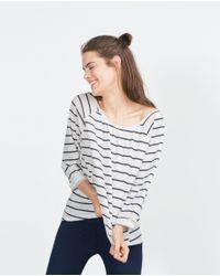 Zara | Blue Cotton T-shirt | Lyst
