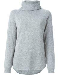 MICHAEL Michael Kors - Gray Draped Neck Sweater - Lyst