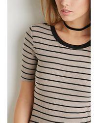 Forever 21   Black Ribbed Stripe Bodycon Dress   Lyst