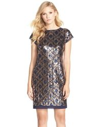 Vince Camuto - Blue Geometric Sequin Chiffon Shift Dress - Lyst