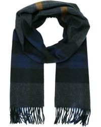 Burberry - Gray Check Print Scarf - Lyst