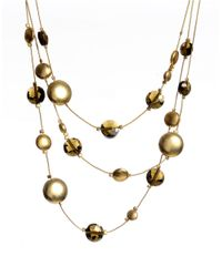 Kenneth Cole - Metallic Faceted Bead Round Disc Illusion Necklace - Lyst