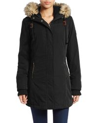 DKNY | Black Faux Fur-trim Hooded Parka | Lyst