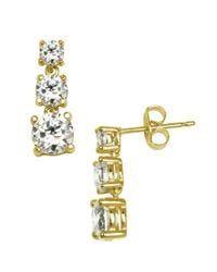 Lord & Taylor - Metallic 18kt Gold Over Sterling Silver And Cubic Zirconia Linear Drop Earrings - Lyst