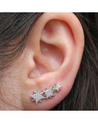 Anne Sisteron | 14kt White Gold Diamond Stars Ear Cuff | Lyst