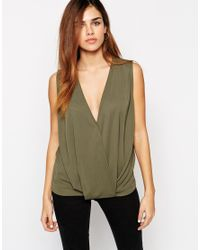 ASOS | Natural Sleeveless Top With Wrap Front In Crepe | Lyst