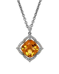 Lord & Taylor - Orange Citrine, Diamond And Sterling Silver Pendant Necklace - Lyst