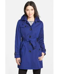 MICHAEL Michael Kors | Blue Single Breasted Raincoat | Lyst