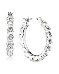 Anne Klein | Metallic Silvertone Crystal Hoop Earrings | Lyst