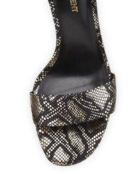 Saint Laurent - Metallic Python-Embossed Leather Sandal - Lyst