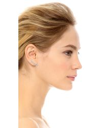 Rebecca Minkoff | Metallic Three Triangle Button Earrings - Rhodium/clear | Lyst