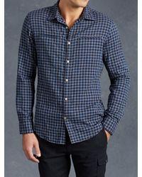 John Varvatos | Blue Cotton Plaid Shirt for Men | Lyst