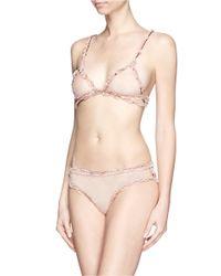 Fleur du Mal - Pink 'Lace Bondage' Tulle Triangle Soft Bra - Lyst