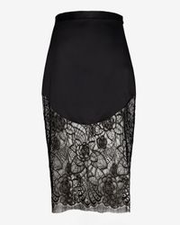 Lover - Black Lotus Lace Hem Pencil Skirt - Lyst