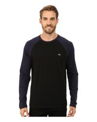 Lacoste | Black Color Block Baseball Jersey Tee Shirt for Men | Lyst