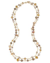 Carolee | Metallic Top Of The Rock Gold-tone Neutral Bead Necklace | Lyst
