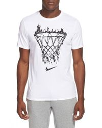 Nike - White 'net Flame' Dri-fit Graphic T-shirt for Men - Lyst